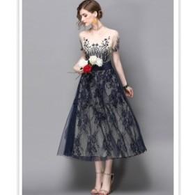 パーティードレス ワンピース ミモレ丈 ミディアム丈 結婚式 大きいサイズ  ラウンドネック 刺繍 オーガンジー シースルー  半袖 韓国