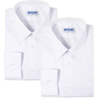 男子 長袖 学生用 Yシャツ スクールシャツ 2枚組 BAMBI バンビ 形態安定 抗菌防臭 制服 標準体型A体用 カッターシャツ (165)