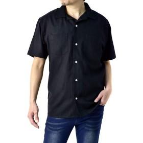 (フラグオンクルー) FLAG ON CREW 開襟シャツ メンズ 半袖 麻混 リネンシャツ ゆったりサイズ 無地 ストライプ / A8N / L ブラック・black・06