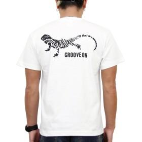 (グルーブオン)GROOVEON Tシャツ メンズ おおきいサイズ 半袖 プリント トップス サーフ系 カットソー カメレオン ブランドロゴ 柄 gost4604 (WHITE-BLACK, XXL)