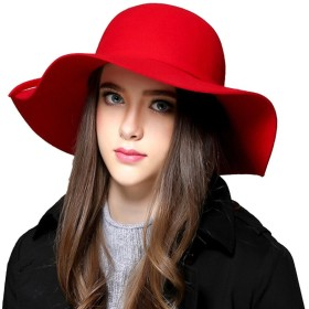CEXIN(セシン) レディース 女優帽 ツバ広 つば広 帽子 ハット 礼帽 ウール フェルト リボン UV カラバリ カジュアル ロースレッド
