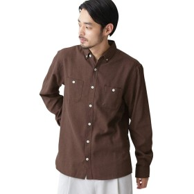 (モノマート) MONO-MART 起毛 フランネルシャツ シャツ 暖かい L/S 無地 柄 メンズ ブラウン XLサイズ