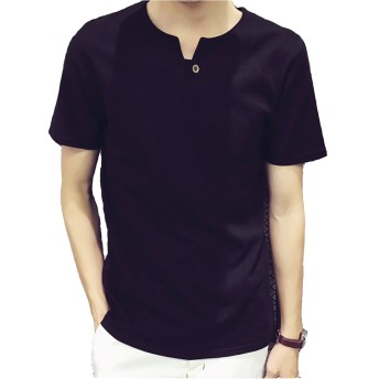 FansX Tシャツ メンズ 無地 半袖 クルーネック ゆったり シルエット 黑 XL