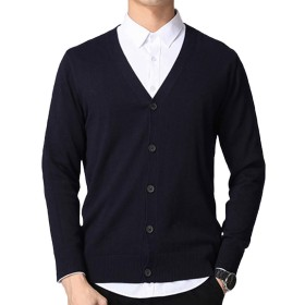 Yookie メンズ セーター vネック カーディガン 調ボタン ニット セーター 長袖 綿 無地 秋 冬 ビジネス スリム カジュアル 8022 (ネイビー, L)