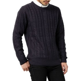 [アビト] セーター ニット フィッシャーマンニット メンズ クルーネック ネイビー XLサイズ