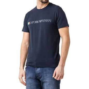 EMPORIO ARMANI(エンポリオアルマーニ) メンズ クルーネック 丸首 コットン レギュラーフィット 半袖 Tシャツ イーグルマーク ロゴ 白 紺 [並行輸入品][1108539p510]