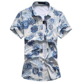 CEEN メンズ 春 夏 シャツ 花柄 半袖 フラワー おしゃれ アロハシャツ リゾート 気分 カジュアル さわやか 花 柄フラワー デザイン