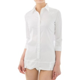 動きやすく着崩れない超ストレッチ&イージーケアボディシャツ 7分袖 ホワイト L2 [41784]