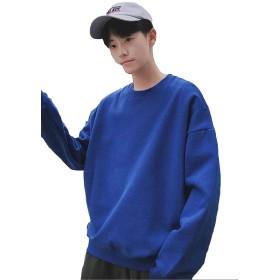 Alppv パーカー メンズ ファッション 韓国風 スウェット パーカー 秋 用 長袖 上着 ゆったり 無地 かっこいい おしゃれ パーカーブルーAL-5
