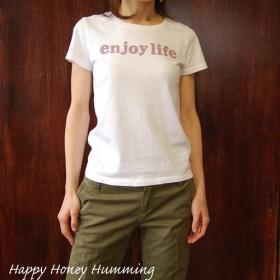ロゴtシャツ enjoy life ホワイト レディース 送料無料