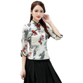 Shenguang チャイナブラウス 七分袖 トップス 花 孔雀柄 民族風 上着 チャイナボタン チャイナ服 レディース (M)