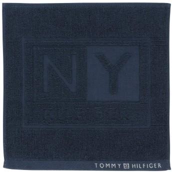 [トミーヒルフィガー]ハンカチ NYロゴ柄 綿100% ネイビー