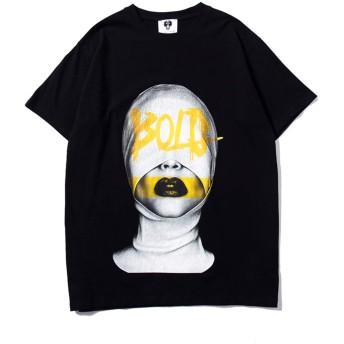 Pizoff(ピゾフ) メンズ 半袖Tシャツ 綿 大きいサイズ b系 面白 デザイン 原宿系 カジュアル カットソーAC173-Black-XL