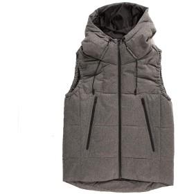 ダウンベスト メンズ 中綿ジャケット カジュアルアウター フード付き 通勤 通学 防寒 防風 合わせやすい 秋 冬 春 アウトウェア (M, グレー)