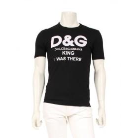 ドルチェ アンド ガッバーナ DOLCE&GABBANA 「KING I WAS THERE」 プリントTシャツ カットソー 黒 メンズ 中古