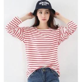 Elegant SalonロングTシャツ ロンT カットソー 長袖 Tシャツ トップス シンプル レディースボーダーTシャツ (M, 赤)