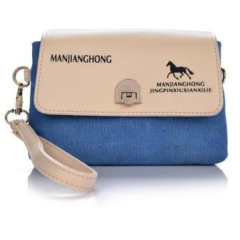 Aosnow ハンドバッグ クラッチバッグ 斜めがけ 鞄 ショルダーバッグ キャンバス 携帯 めがね 財布などの小物収納 お出かけ (ブルー)