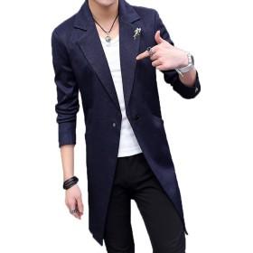 S-XINY スプリングコート メンズ トレンチコート ロング コート ジャケット 薄手 春 通勤 通学 大きいサイズ (ネイビー, XXL)