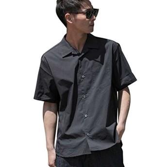 (アドミックス アトリエサブメン) ADMIX ATELIER SAB MEN メンズ シャツ 半袖 T Cストレッチオープンカラー半袖シャツ 02-04-8582 48(M) ブラック(00)