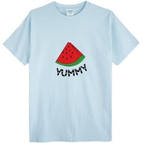 (ゴジラ千) GODZILLASENN メンズtシャツ スイカ ロゴプリントTシャツ マルーネック メンズトップス 半袖 ライトブルー L