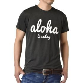 (アルージェ) ARUGE 感動ドライ 吸汗速乾 接触冷感 UVカット UPF50+ 半袖 Tシャツ 脇汗対策 ラッシュガード 水陸両用 メンズ/A6G/M ALOHA柄09チャコール杢