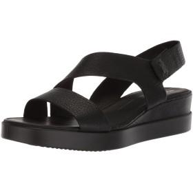 [エコー] Women's Touch 2-Strap Plateau Wedge Sandal, Black, Size 8.0