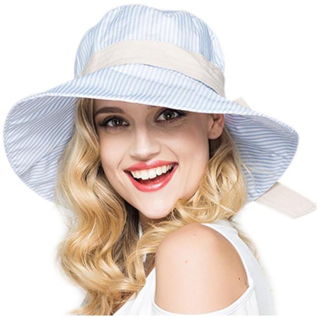 (アイセレクト)i-select リボン ハット 帽子 つば広 日よけ 折畳み ストライプ (ブルー)