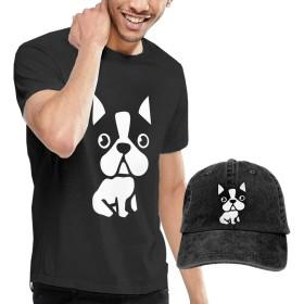 MYZIEOY メンズ Tシャツ+キャップ(2点セット) 半袖シャツ 野球帽 夏 吸汗 カットソー フレンチブルドッグ どっち? 帽子 おしゃれ 丸首 トップス ランニング UVカット 紫外線対策 ゆったり 快適 カジュアル 大きいサイズ L