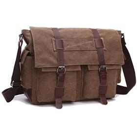 MCUKAY 帆布 ショルダーバッグ メンズ 斜めがけ 通学 大学生 バッグ a4サイズ 大容量 丈夫 横幅40cm×高さ35cm×マチ13cm 8168 Coffee