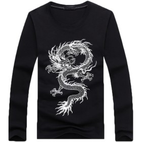 CHROME CRANE(クロム クレイン) メンズ 長袖 ドラゴン プリント Tシャツ 龍 柄 ロゴ デザイン シャツ LPT004 (02.ブラック,M)