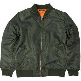 全5カラー メンズ MA-1 中綿 防寒 フライト ミリタリー ジャケット エムエーワン (XL, カーキ)