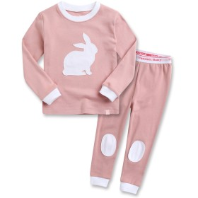 Vaenait Baby 子供 キッズ パジャマ ルームウェア 12か月-9歳 綿100% 上下セット Bono Rabbit Pink S