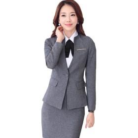 (激情女郎)JIQINGNVLANG レディース OL 上質 ビジネス 事務服 スカートスーツ セット パンツスーツ グレー(ジャケット+スカート) 3XL