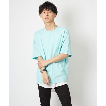 ビッグTシャツ メンズ レディース ビッグシルエット Tシャツ カットソー 半袖 クルーネック オーバーサイズ ミント M サイズ