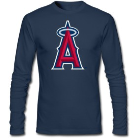 OneMBoss 男の子 Tシャツ 長袖 クルーネック ロサンゼルス・エンゼルス・オブ・アナハイム ロゴ デザイン ティーシャツ ロンT 綿100%