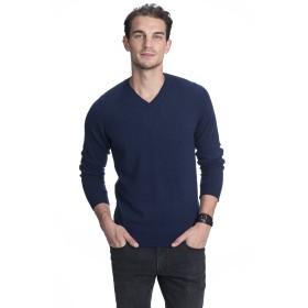 State Cashmere メンズ100%カシミアロングスリーブプルオーバーVネックセーター