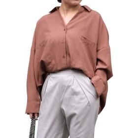 [アンドジェイ] リネン風 BIG ポケット オーバー サイズ シャツ (4260) M オレンジ