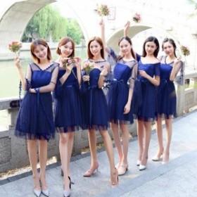 パーティードレス ノースリーブ ミニ丈 ショート丈 レース 結婚式 二次会 お呼ばれ 全7タイプ ネイビー 韓国