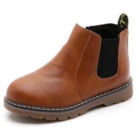 (ダダウン)DADAWEN 子供ブーツ 男の子 女の子 ショートブーツ 裏ボア 防水ブーツ ジッパー付き 履きやすい 滑り止め 通学 通園 イエロー 20cm