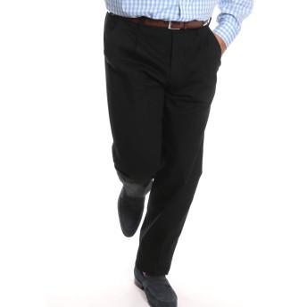 (ビーアンドティークラブ) B&T CLUB 大きいサイズ メンズ 形態安定加工 バイウォッシュ加工 綿100% ツータック チノパンツ ブラック / 110