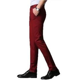 PIITE メンズ チノパン 秋冬 カジュアルパンツ ストレッチ 紳士 ロングパンツ おしゃれ 無地 シンプル テーパードパンツ スキニー ボトムズ 防寒 ズボン パンツ スタイリッシュワインレッド33