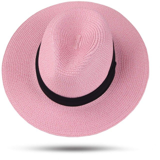 Taylor-mia(テイラーミア) 中折れハット 麦わら帽子 レディース 春夏 中折れハット サイズ調節可 大きいサイズ つば広 帽子 日焼け防止 UVカット ピンク 56cm 57cm 58cm 59cm