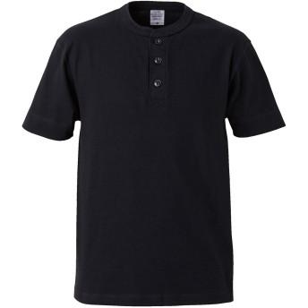 [エムエイチエー] M.H.A.style Tシャツ 半袖 メンズ (ヘンリーネック) カットソー 無地 シンプル 5004 10018 B.ブラック サイズS