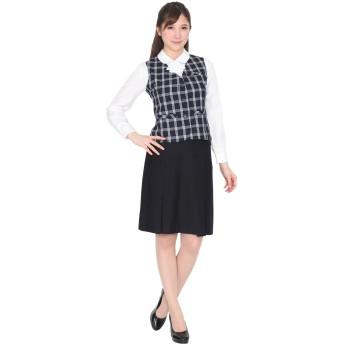 (ブティックユリア) Boutique Yuria 汚れにも強い事務服 ベストスーツ 紺チェックA 13号