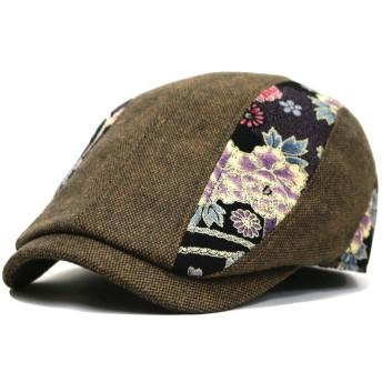 帽子 メンズ 和柄 ハンチングウール和調切替 (ブラウン)