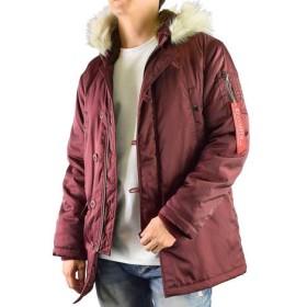 Clack (クラック) ジャケット N-3B ミリタリージャケット ファー付き 中綿 ブルゾン 防寒 アウターリブ使い 軽量 春 秋 冬 メンズ 33.ワイン 2L