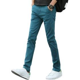 Mikino チノパン メンズ ストレッチ ロングパンツ ズボン スキニーパンツ 大きいサイズ 小さいサイズ ファッション スリムフィット 美脚 細身 蓝色s
