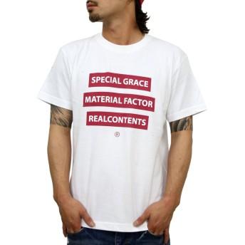 (リアルコンテンツ)REAL CONTENTS tシャツ メンズ 大きいサイズ ティシャツ 半袖Tシャツ トリプル ボックスロゴ BOX logo ストリート 柄 ブランド ロゴ プリント rcst1226 (XL, WHITE)