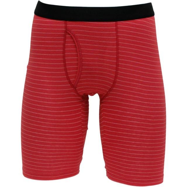 紳士 幸せの赤いロングボクサーブリーフ(膝上丈)M.L.LL.3L.4L (M, 3.レッド細ボーダー)