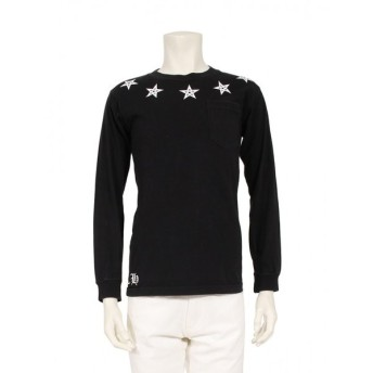 クロムハーツ Chrome Hearts 5スター プリントTシャツ カットソー 長袖 コットン 黒 白 メンズ 中古